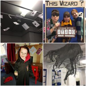 Collage of photos taken at a Harry Potter themed party of decorations and people dressed up.
