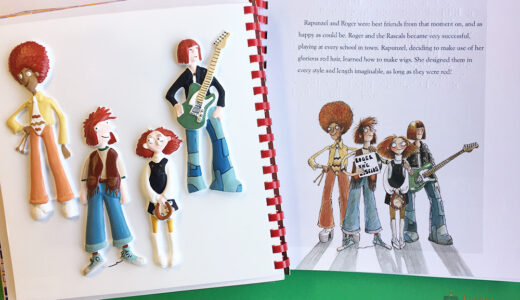 The band tactile and book page from Rapunzel showing the band and their outfits.