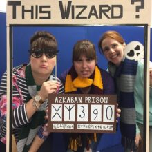 Three ladies in Harry Potter themed costumes inside a frame, which reads, 'Have you seen this wizard?'