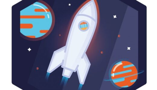 Science Alive! logo showing a rocket in space with planets and stars.