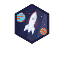 Science Alive logo showing a rocket zooming into space with planets and stars