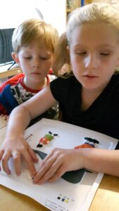 Isobel and her sighted brother road testing a new feely picture of a whale.