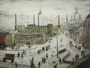 L.S. Lowry's Huddersfield. A busy street scene, a factory in the middle distance and the landscape around Huddersfield beyond.