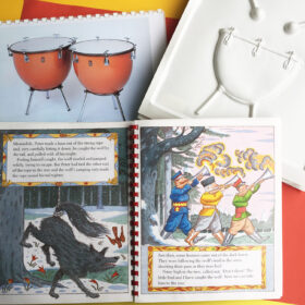 Inside the Peter and the Wolf book with tactile pictures of drums used in the composition
