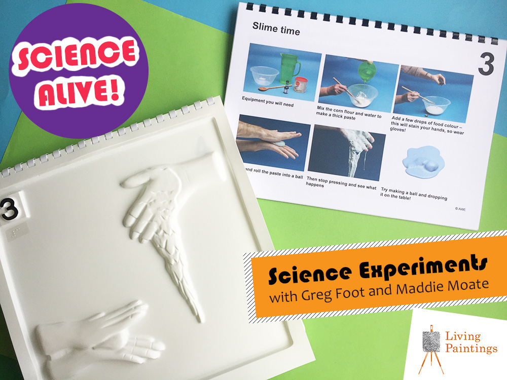 Science Experiments tactile of hands making slime with a colour booklet how to guide.