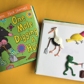 Tactile pictures and front cover of One Mole Digging a Hole