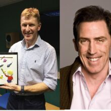 Tim Peake, astronaut, alongside a photo of Rob Brydon, smiling headshot.