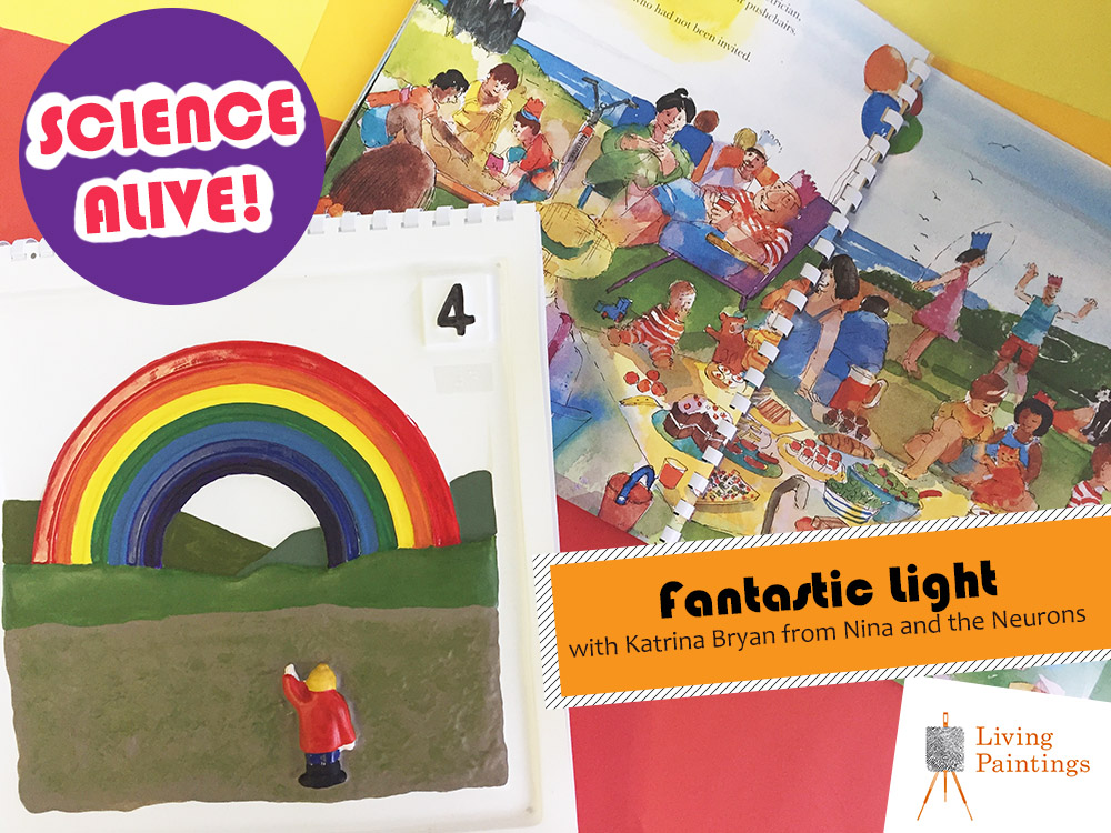 A tactile rainbow and pages of The Lighthouse Keeper's Rescue