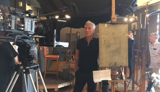 Martin Kemp filming for our lifeline appeal in an art studio