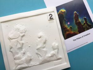 A print-out and tactile picture of the Pillars of Creation also known as Eagle Nebula