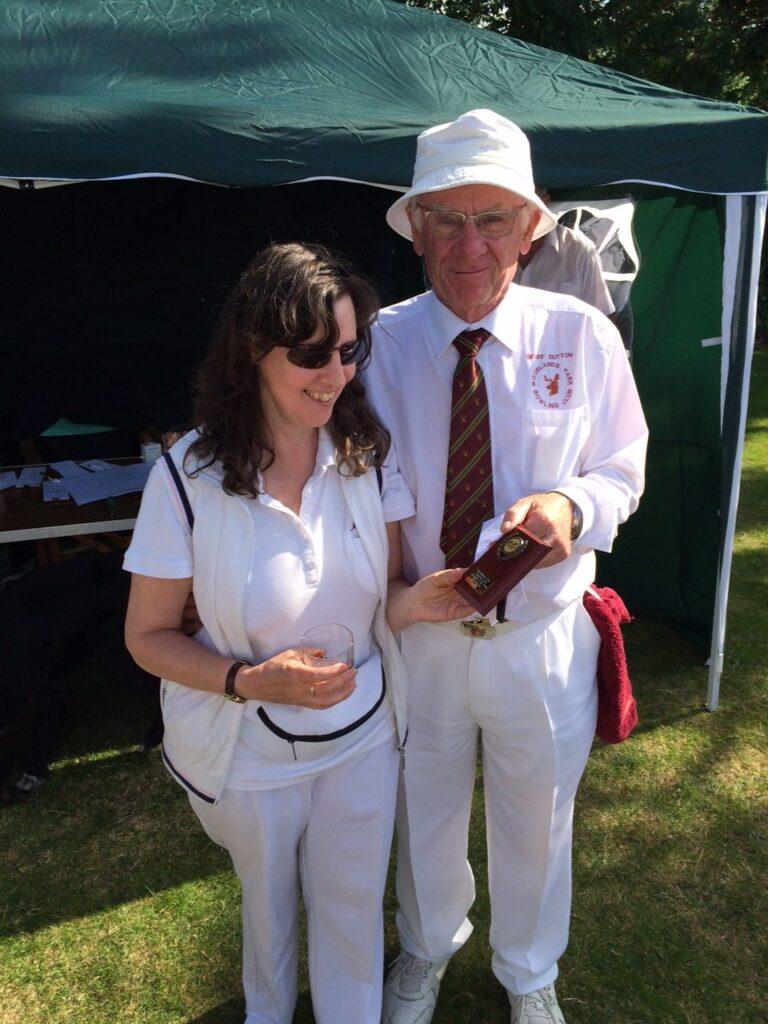 Sue receiving a blind bowling award