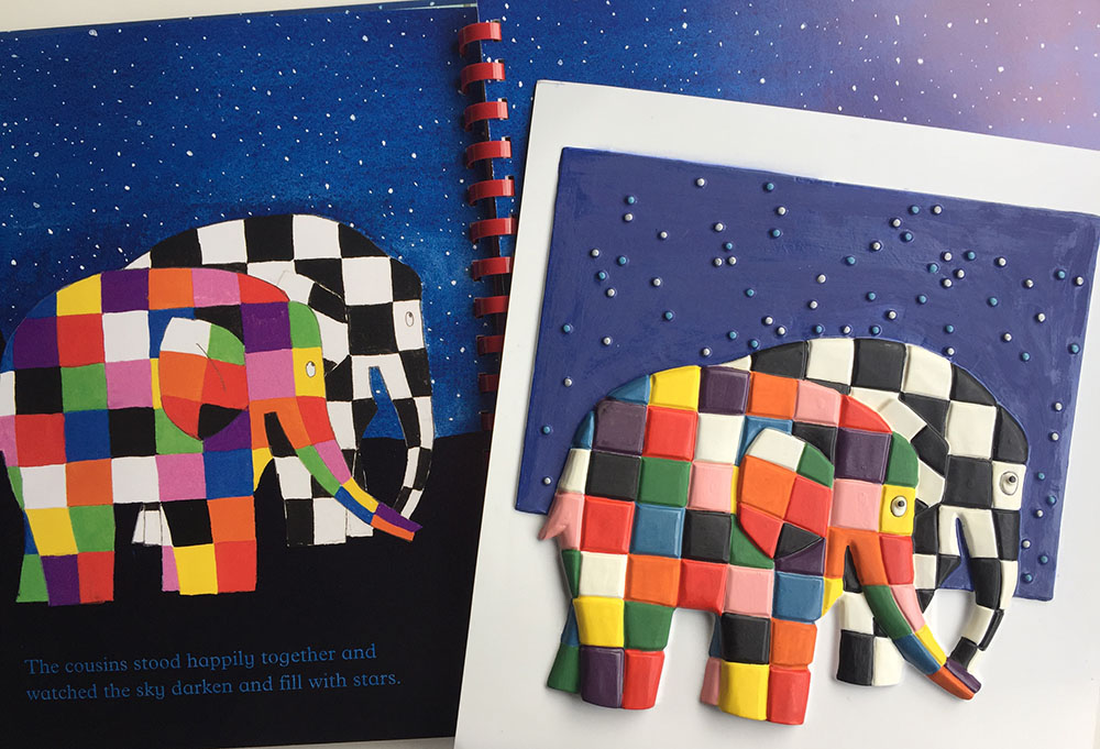 Elmer and Wilbur tactile picture next to the illustration in the book