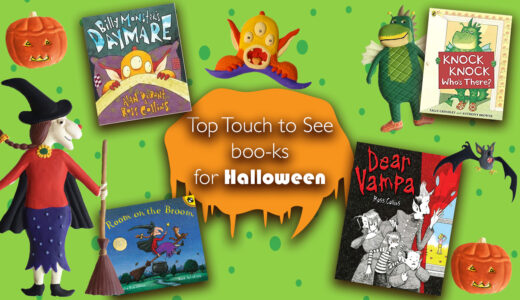 Halloween books collage featuring picture book cover artwork a pumpkin, dragon and witch.