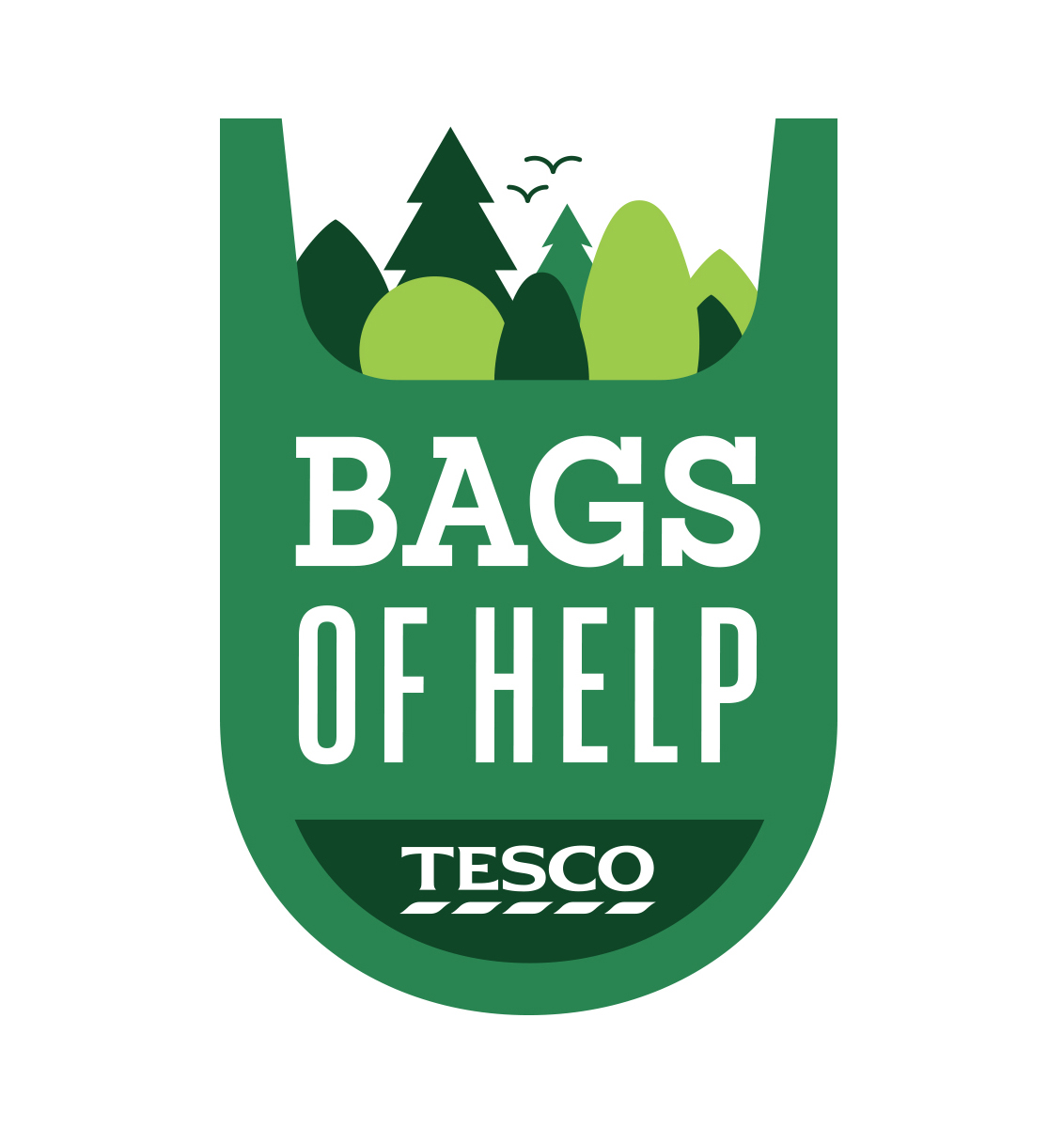 Bags of Help Logo, agreen shopping bag briming with different shaped tree tops.