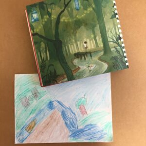 A crayon drawing of a boat going along a river with trees and a machine in the sky, next to a book that depicts a similar scene