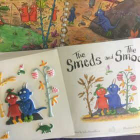 The Smeds and The Smoos open book with braille and feely picture