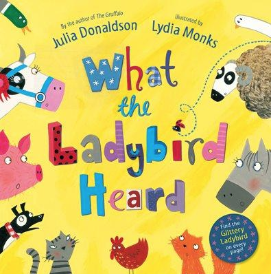 What the Ladybird Heard showing the heads farm animals and a flying ladybird.
