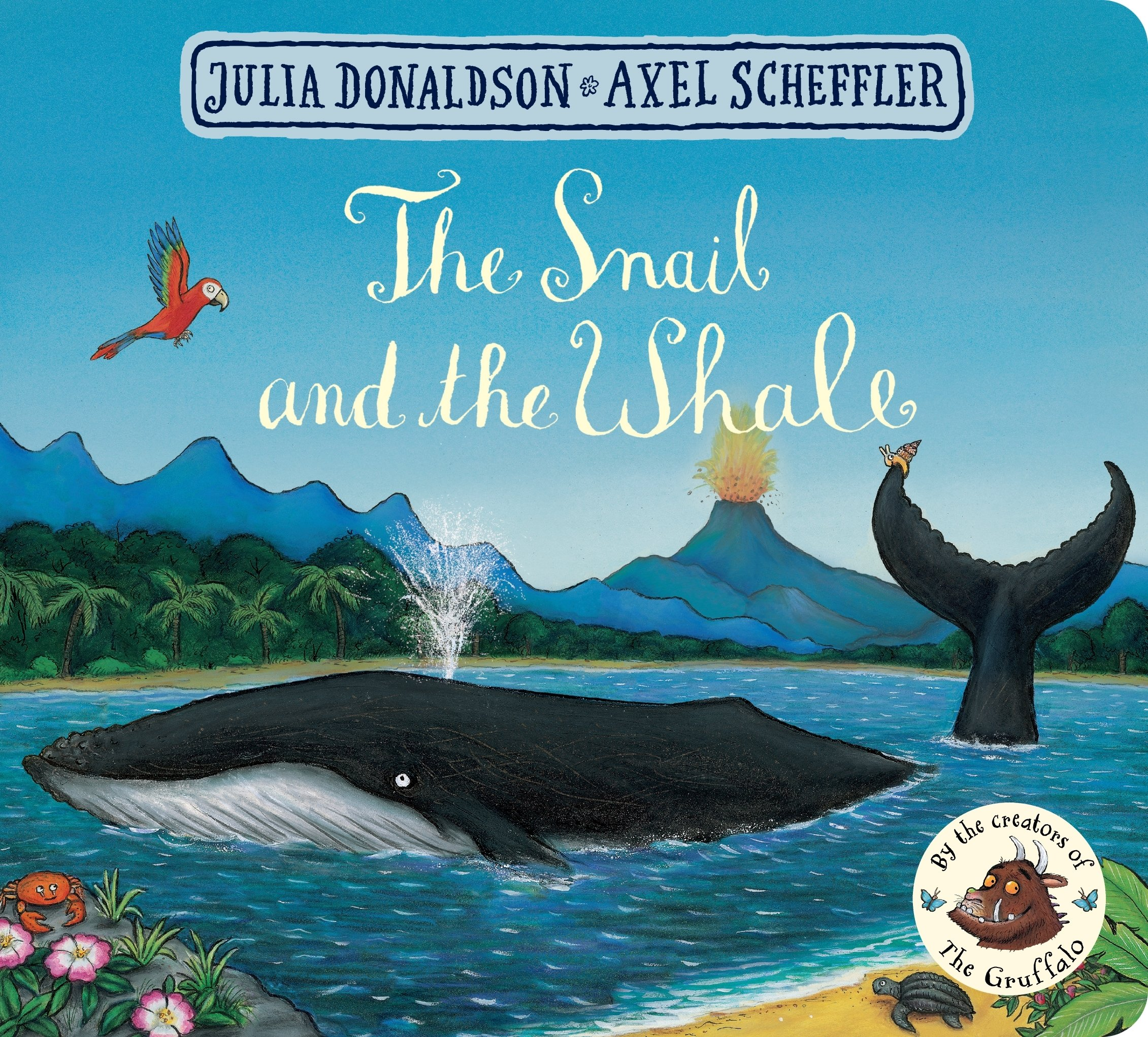 Front cover of The Snail and the Whale showing a whale breaching the waves and spurting water.