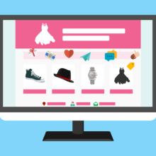 A graphic of a computer screen with generic shopping items