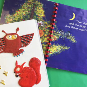 Goodnight Owl tactile pictures and a page from the book