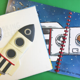 Tactile picture of a rocket next to the illustration in the book, Roaring Rockets.