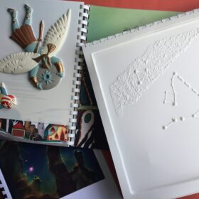 A photo showing the tactile pictures, book , image pack and Guidance Notes in the Star Seeker book resource.