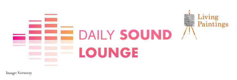 Living Paintings Daily Sound Lounge graphic design in with easel logo and orange and pink boxes.