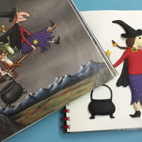 Room on the Broom, tactile picture of witch and a page from the book