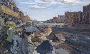 Painting capturing the atmosphere of Dublin's Liffey swim. Men and women in flat caps and bonnets overlooking the banks of the river as the swimmers pass below in the murky waters of the Liffey.