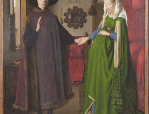 Portrait of a wealthy couple holding hands in their bedchamber. The man on the left wears a long black gown and large brimmed top hat the lady on the right wears a fine green gown and frilled white veil. A small dog stands by her feet.