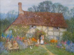 Watercolour painting of a Tudor cottage.A lady and her two young children stand  in the front  garden surrounded by cottage flowers and a row of bee hives.