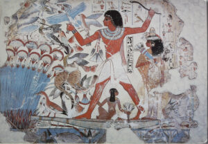 Tomb painting of a pharaoh surrounded by birds and other river creatures.