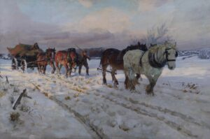 A winter scene depicting a man trudging through snow leading four Shire horses and a carriage.
