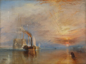 This painting shows are large war ship being towed into an estuary. Plumes of crimson smoke rise above the imposing steam tug in front. The sky beyond is alight with a golden sunset.