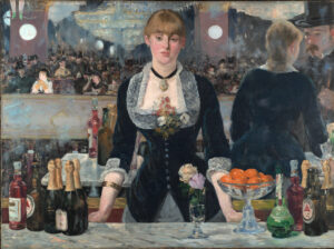 A solemn looking bar maid wearing black velvet jacket and lace collar is standing behind on a marble topped bar. The mirror behind reflects a grand auditorium.