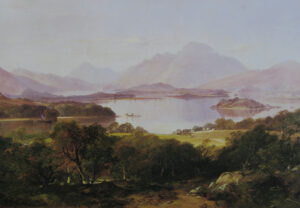 The painting looks down onto a craggy hillside to the thatched roof of a cottage and over a loch below.