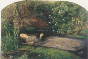 Shakespeare's Ophelia floating along a river, hands still holding a garland of flowers.