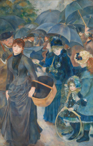 A 19th century Parisian scene awash with a canopy of umbrellas beneath an imposing grey sky. A lady on the left holds a large reed basket and hitches her skirts away from the damp pavement below. To her right a young girl holds a large hoop and has a plume of multicoloured feathers in her hair.