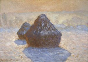 A misty winter scene of two conical haystacks in a field beyond Monet's house in Giverny. The haysstacks are covered in snow, their shape reflected as shimmering blue pools in the snow in front.