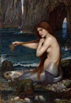 Mermaid seated on a rock combing her long red hair. The sea laps the shore of the caved area beyond.