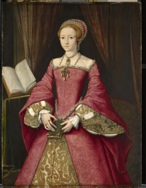 A young Elizabeth the first in splendid red and gold dress with voluminous sleeves.