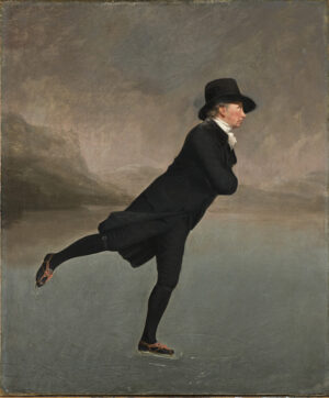 Gentleman in smart black top hat and tails dancing on ice.