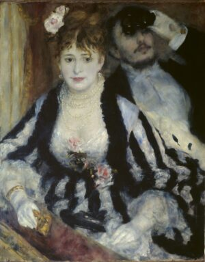 Lady seated in a theatre box, holding a pink rose, a gentleman is seated beside her looking through a pair of binoculars.
