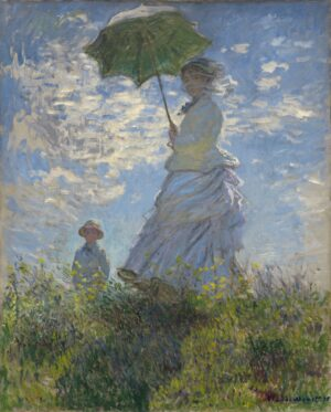 Impressionist painting of lady in pale blue taffetta dress holding parasol standing in a field with her young son. The figures are sillouetted in a glorious blue sky.
