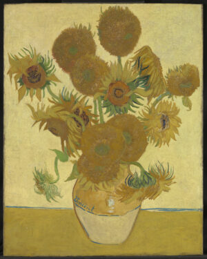 Post-Impressionist painting of yellow sunflowers in a vase.