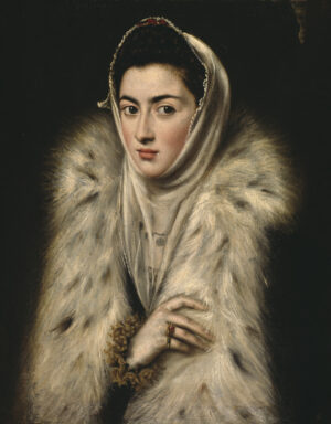 Head and shoulders portrait of unkown lady in an elegant black and white fur wrap.