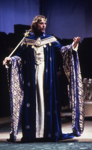 The delightful Jeremy Irons as Richard the second, in royal blue and gold costume.