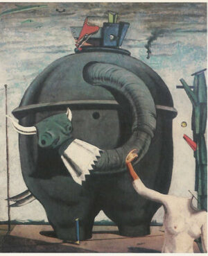 Surrealist painting of mechanical elephant, the arm and torso of a manequin below.