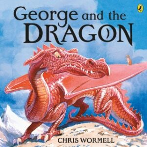 George and the Dragon written and illustrated by Chris Wormell. On top of mountan stands a grumpy red dragon, with long tail and spread-out wings, is snarling at a little brown mouse who is standing on one of his wings.