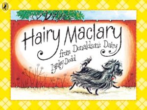 Hairy Maclary from Donalds Dairy written and illustrated by Lynley Dodd. A small, black dog with long hair and an upright tufty tail scampers past a red brick wall.